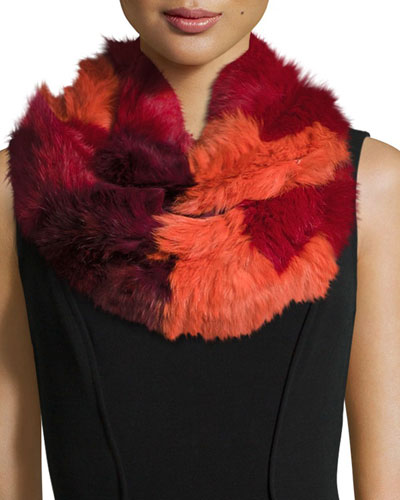 Chevron Sheared Rabbit Fur Infinity Scarf, Red