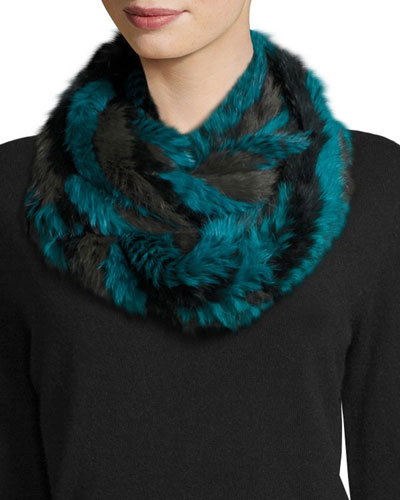 Rabbit Fur Infinity Scarf, Green Multicolor