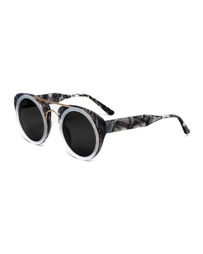 Soda Pop Round Sunglasses, Black/White