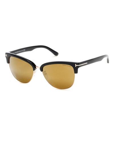 Tom Ford Fany Semi-Rimless Cat-Eye Sunglasses, Black/Rose/Bronze