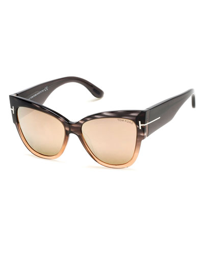 Anoushka Streaked Cat-Eye Sunglasses, Gray/Peach