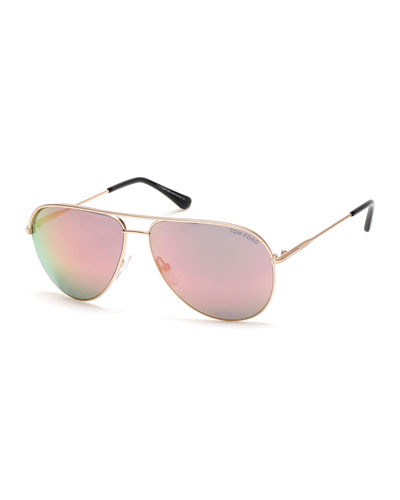 Erin Flash Aviator Sunglasses, Rose Gold