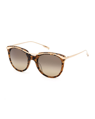Elkins Rounded Square Polarized Sunglasses, Tortoise/Gold