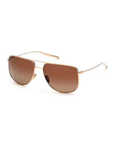 Odin Polarized Squared Aviator Sunglasses, Gold