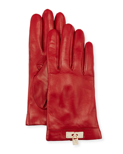 Leather Lock-Cuff Gloves, Red