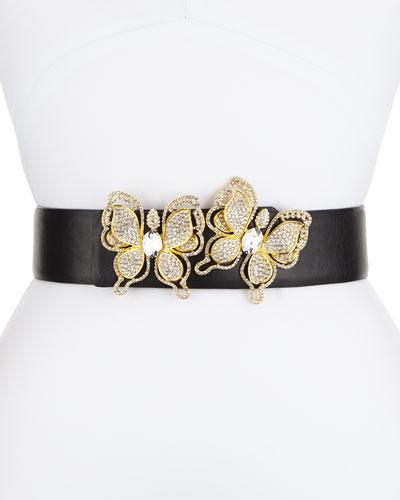 Butterflies Leather Belt, Gold