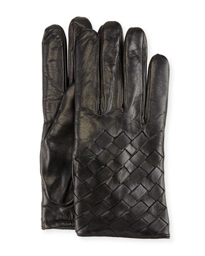 Leather Basketweave Gloves, Black