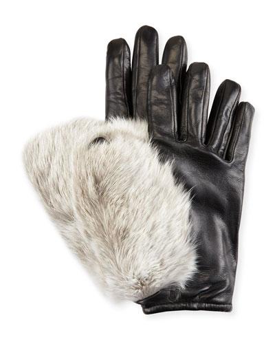 Leather & Rabbit Fur Gloves, Black