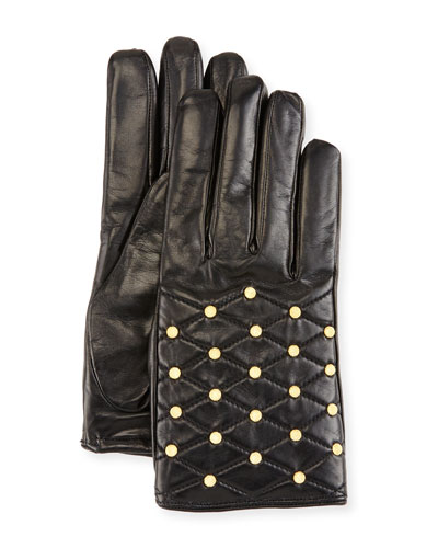 Studded Quilted Leather Gloves, Black