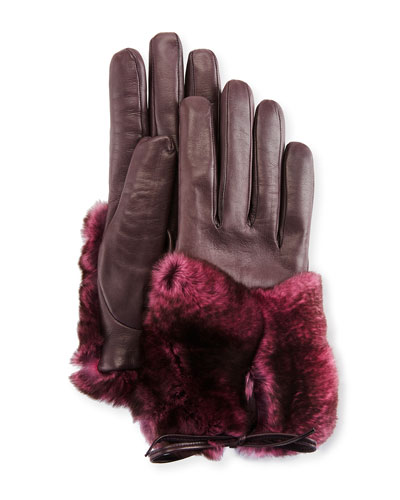Leather & Rabbit Fur Gloves, Galaxy/Pink