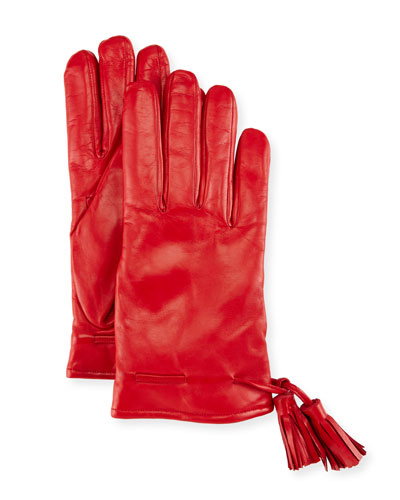 Leather Tassel Gloves, Red