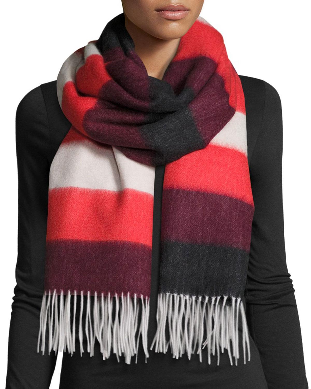 Wide-Stripe Brushed Blanket Scarf, Fiery Red