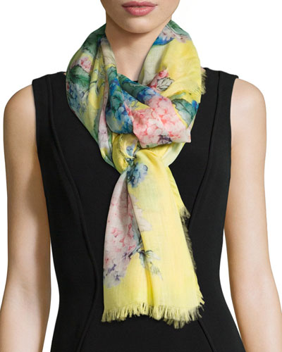 Floral-Print Cashmere/Silk Stole, Yellow/Pink