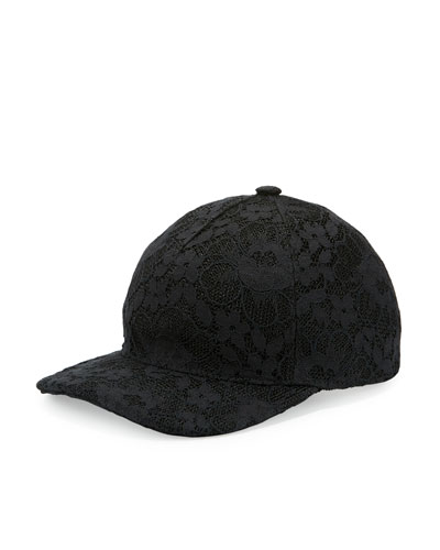 Floral Lace Baseball Cap, Black
