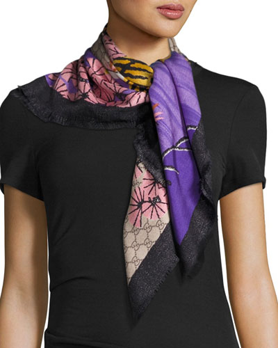 Silk Twill Bengal Scarf, Rope/Pink