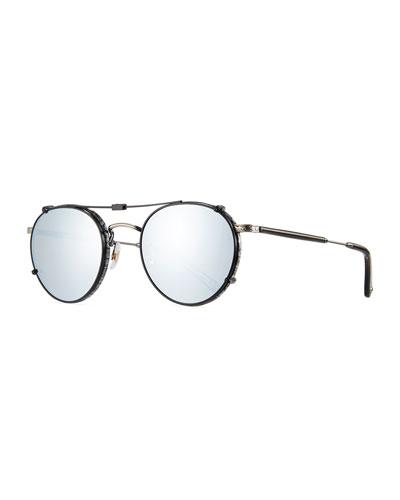 Wilson Round Sunglasses, Gray/Black