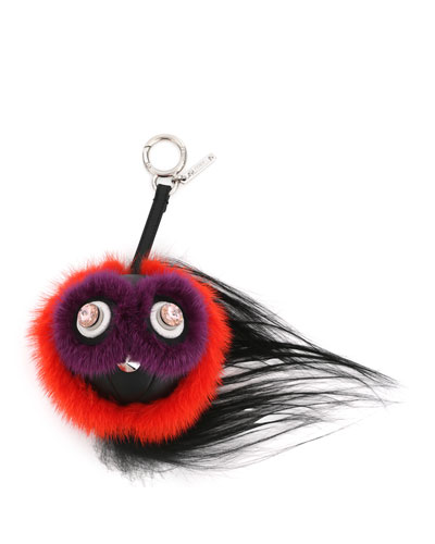 Monster Fur Charm w/Beak, Orange Multi