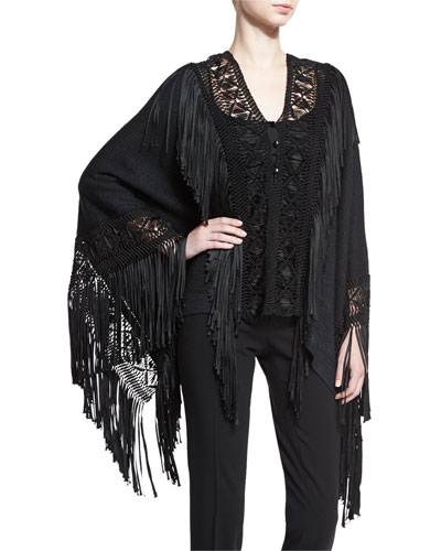 Fringed Macrame Poncho Top, Black