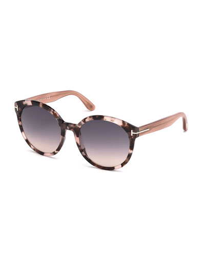 Philippa Two-Tone Round Cat-Eye Sunglasses, Havana