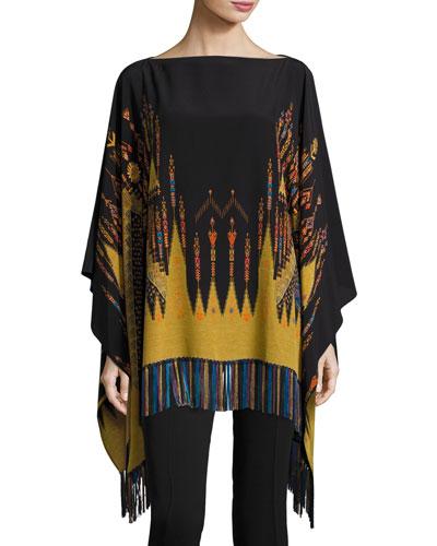 Geometric-Print Silk Poncho Top, Black