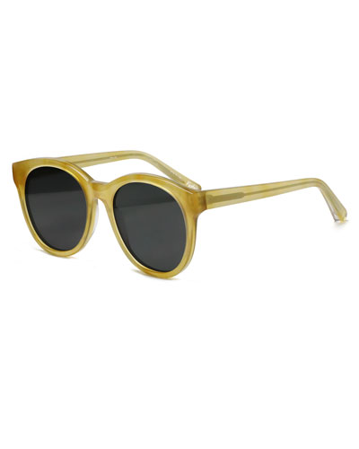 Foster Round Acetate Sunglasses, Yellow