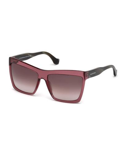 Square Gradient Sunglasses, Dark Purple