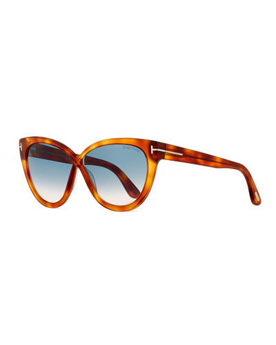 Arabella Cat-Eye Sunglasses, Blonde Havana