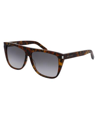 Gradient Flat-Top Sunglasses, Brown
