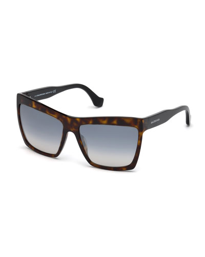 Square Gradient Flash Sunglasses, Dark Brown