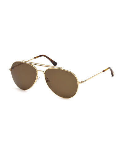 Metal Doubled-Brow Aviator Sunglasses, Gold