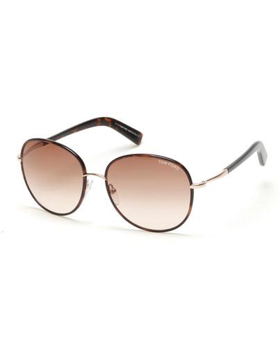 Georgia Gradient Round Sunglasses, Brown