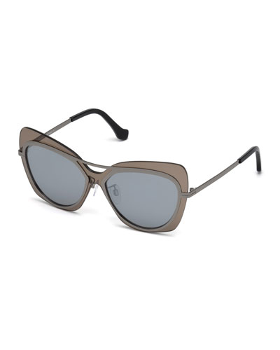 Gradient Metal Squared Aviator Sunglasses, Brown/Gray Metallic