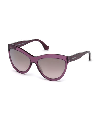 Gradient Flash Cat-Eye Sunglasses, Dark Purple