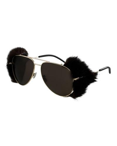 Monochromatic Mink Aviator Sunglasses, Gold