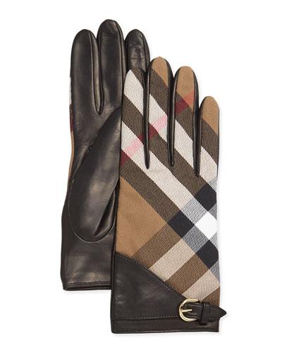House Check Kat Gloves, Black