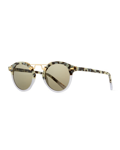 St. Louis Round Monochromatic Sunglasses, Clear