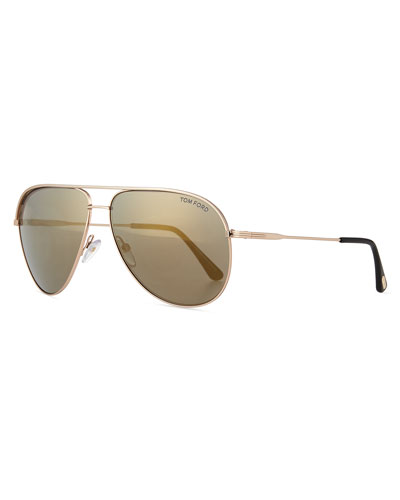Mirrored Metal Aviator Sunglasses, Gold