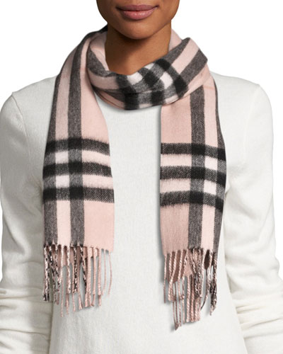 Metallic & Check Cashmere-Blend Scarf, Rose