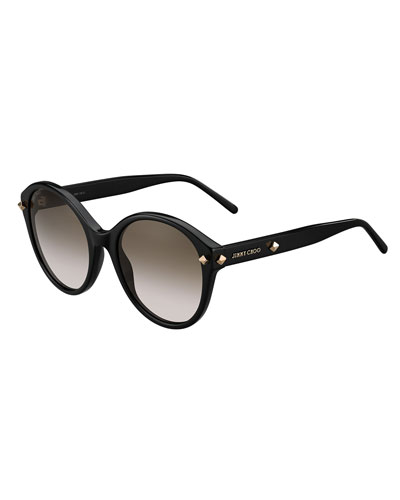 More Studded Cat-Eye Sunglasses, Black