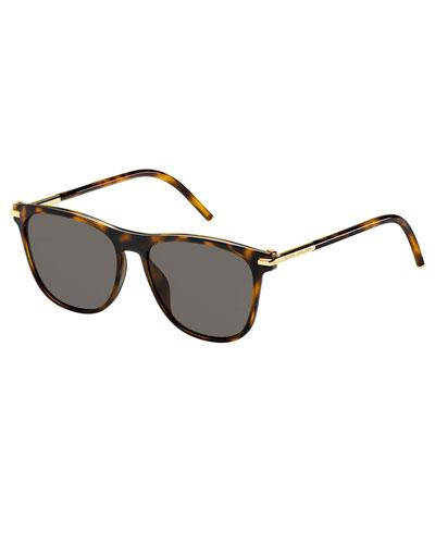 Square Monochromatic Sunglasses, Brown