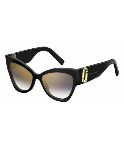 Chunky Mirrored Cat-Eye Sunglasses, Black