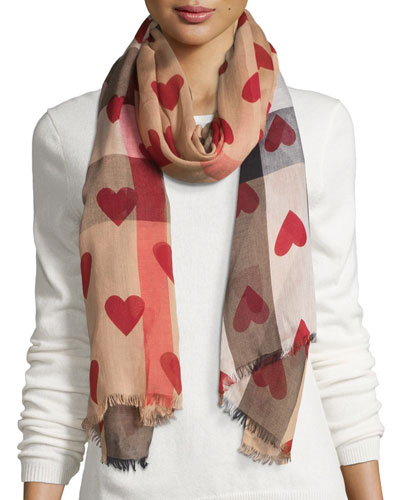 Check Heart-Print Voile Scarf, Brown/Red