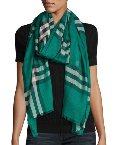 Lightweight Wool & Silk Check Scarf, Emerald