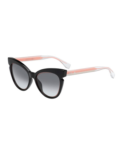 Two-Tone Cat-Eye Notched Optyl Sunglasses