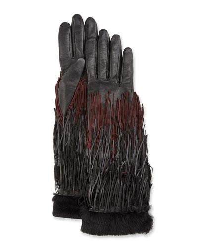 Zelda Leather Fringe Gloves, Black