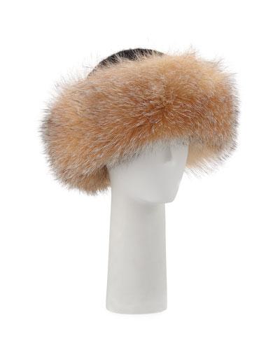 SURELL ACCESSORIES Knit Hat W/ Fox Fur Cuff