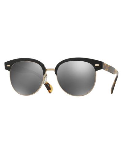 Shaelie Mirrored Semi-Rimless Sunglasses, Black