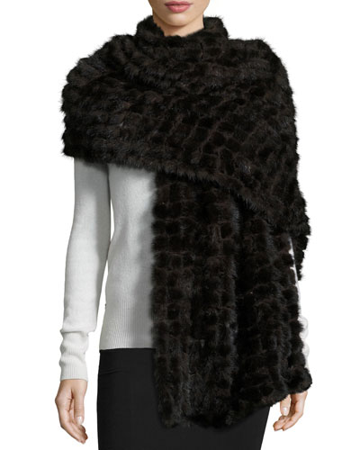 Natural Mink Fur Stole, Dark Brown
