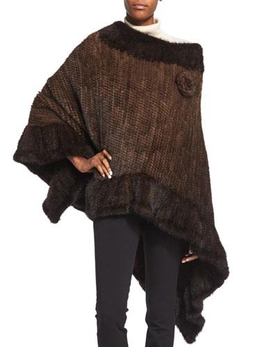 Asymmetric Fur Poncho w/Rosette, Brown