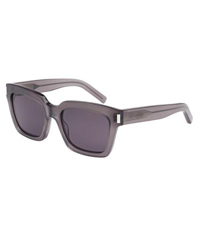 Monochromatic Square Sunglasses, Gray Metallic